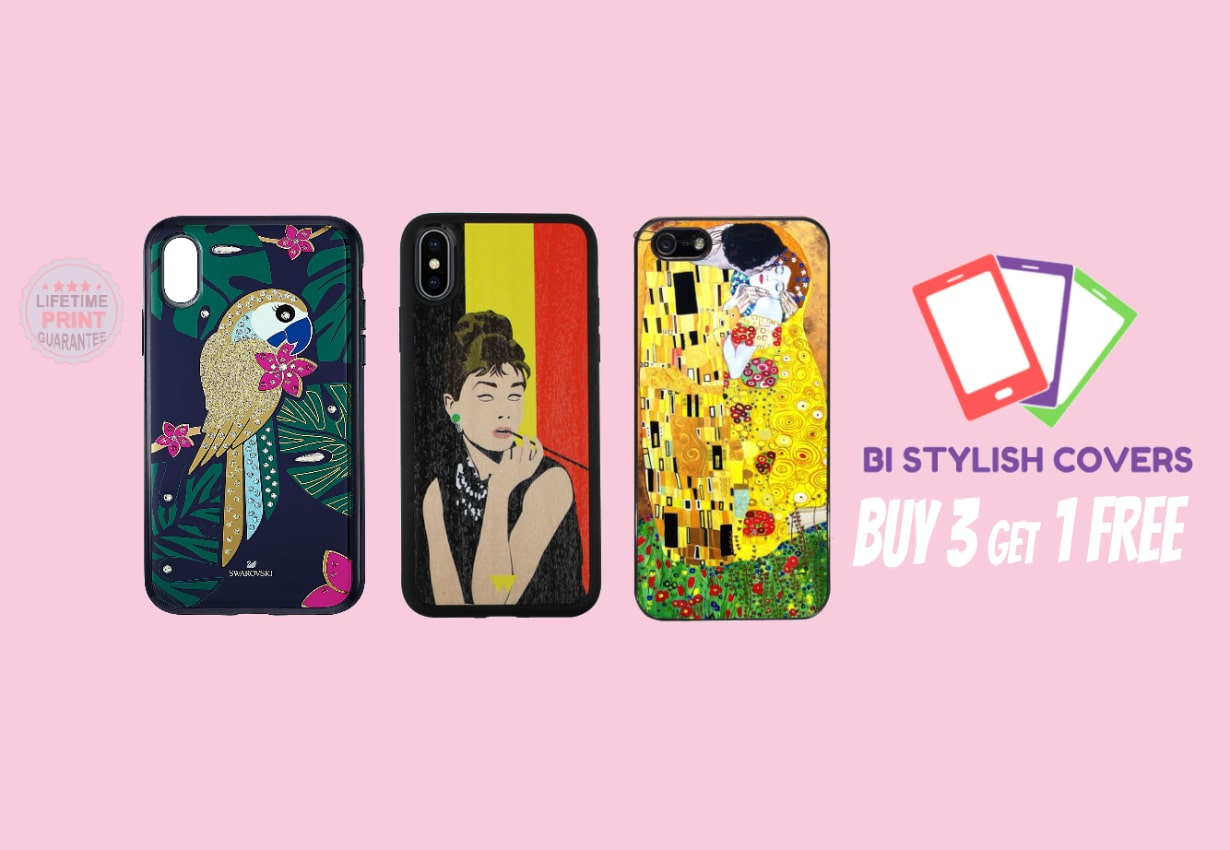 Three nice phone covers and Bi Stylish Covers logo