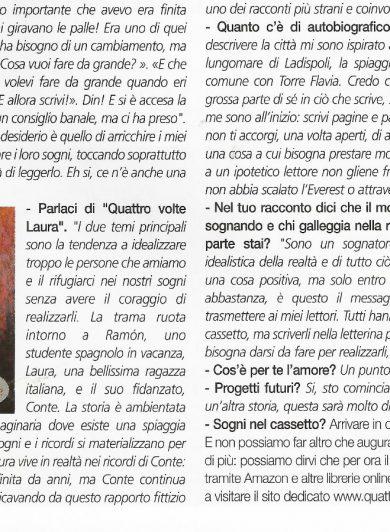 Italian newspaper IlCurioso article about Quattro volte Laura book written by Luca Rinonapoli
