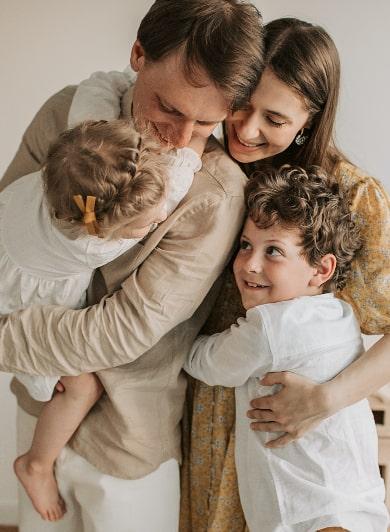happy family hug