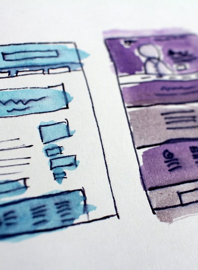 Two UX Design Paper Coloured Low-Fidelity Prototypes