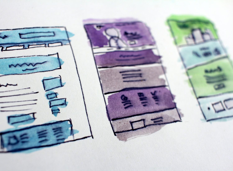 Three UX Design Paper Coloured Low-Fidelity Prototypes