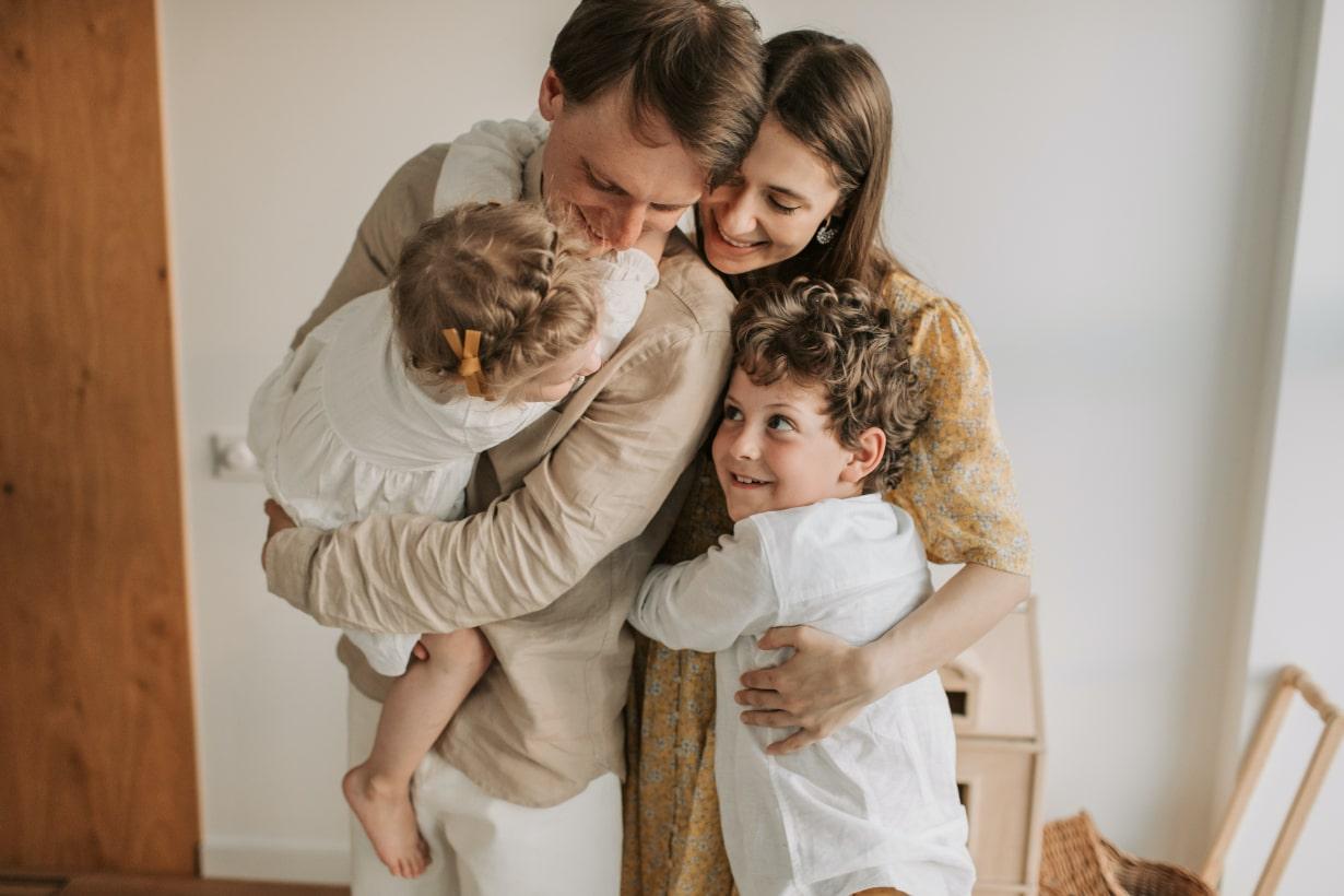 Family happy hug